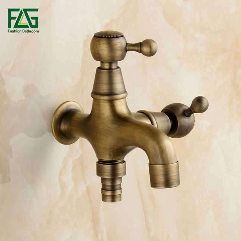 New Style Anti-bronze Bibcock Faucet Brass Wall Mounted Double Using Bathroom Washing Machine Faucet Outdoor Garden Mixer B17