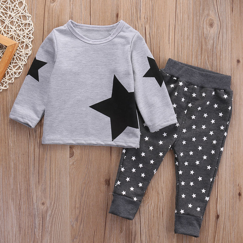 2017 New  Cute 2PCS Children Kids Baby Boy T-shirt Tops+Long Pants Outfits Set Tracksuit 2pcs boy kids long sleeve tops pants nightwear sleepwear pajama pyjamas outfits