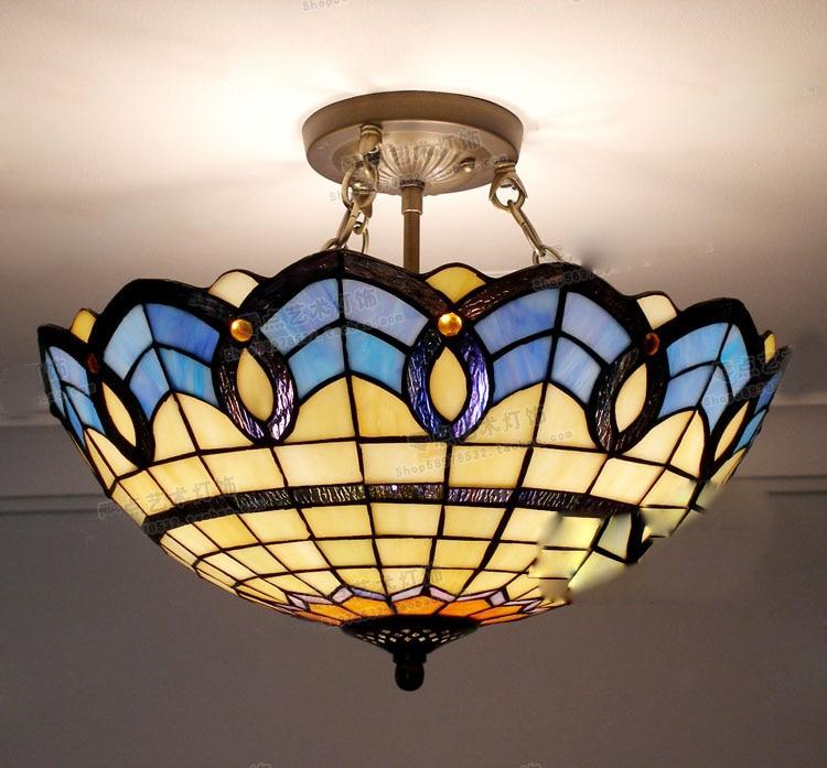 Tiffany Ceiling Lamp Glass Lamps of European Mediterranean style 30cm,40cm,50cm with E27 110-240V LED Ceiling Lights Luminarias tiffany glass ceiling mediterranean style balcony aisle lighting dia 15 cm h 15 cm