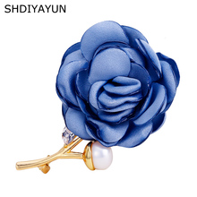 SHDIYAYUN New Pearl Brooch Cloth Flower Brooch For Women Creative Rose Brooch Pins Brooches Natural Freshwater Pearl Jewelry cmajor flower shaped brooch with pearl jewelry silver gold color brooches for women