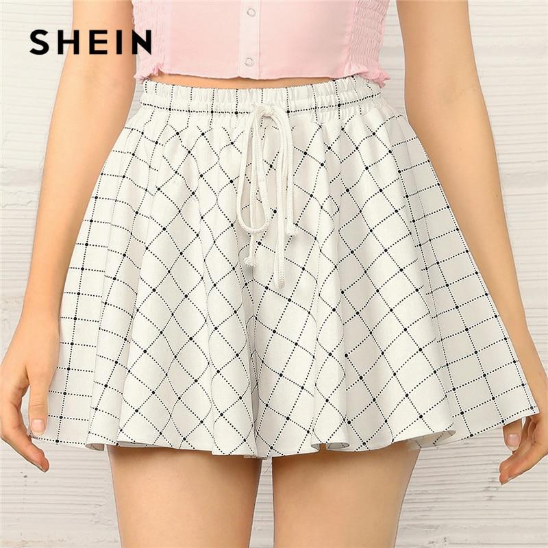 SHEIN Drawstring Waist Wide Leg Grid   Shorts   2019 White Plaid Elastic Waist Summer   Shorts   Fabulous Mid Waist Women   Shorts