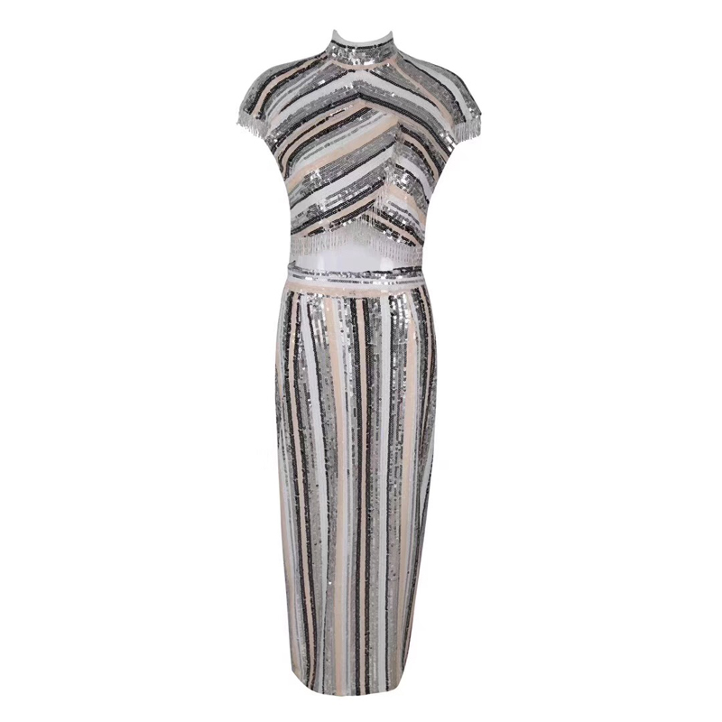 Fashion Silver Sequin Shining Celebrity Evening Party Dress Women Vestidos Good Quality Two 2 Pieces Set Bodycon Suit Wholesale 1