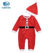 CANIS Brand Cotton Blend Kids Baby Clothes Boys Girls Newborn Romper Jumpsuits Hat Clothes Christmas Set 0-24M