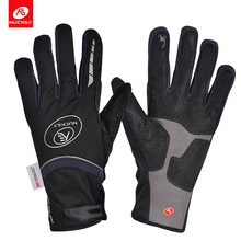 NUCKILY Unisex Winter Cycling Gloves Long Finger Bicycle Gloves Windproof&Waterproof Thermal Fleece Road Bike Glove Screen Touch