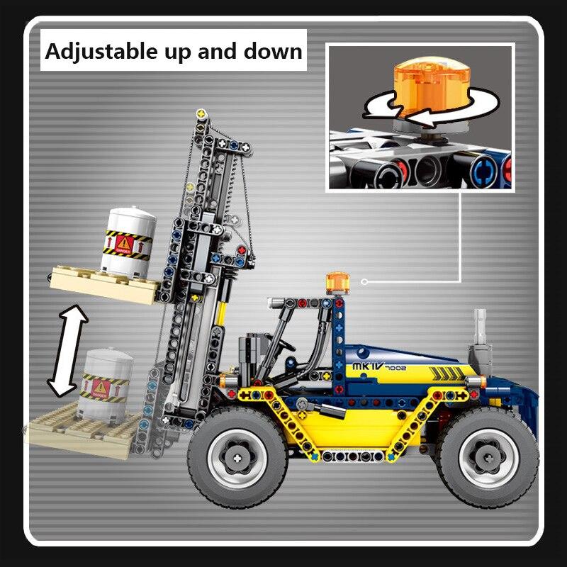 609 pièces Cité Génie Véhicules 2 En 1 Chariot Élévateur Blocs De Construction Compatibles Legoing Technic Camion Grue Briques Jouets Pour Enfants - 6