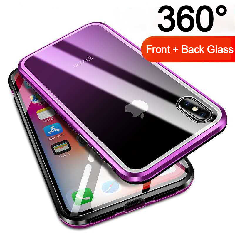 b1e1aef7e70 Dual Tempered Glass 360 Magnet Flip Case for iPhone X Xs MAX XR 8 7 Magnetic