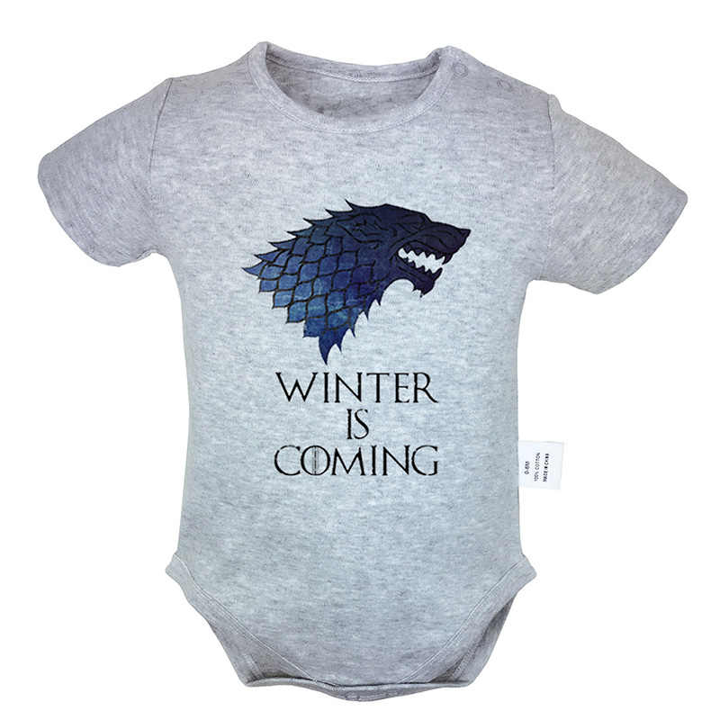 Game of Thrones House Stark Family Direwolf Print 0-18M Newborn Baby Girl Boys Short Sleeve Romper Jumpsuit Outfits 100% Cotton
