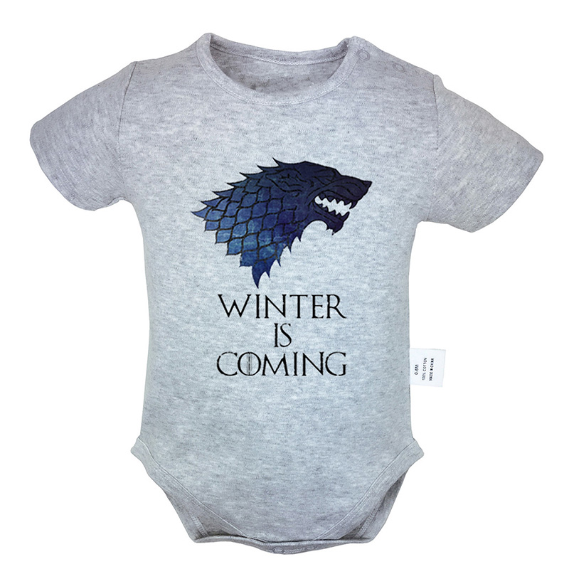 Game Of Thrones House Stark Family Direwolf Print Newborn Baby Girl Boys Short Sleeve Romper Jumpsuit Outfits 100% Cotton