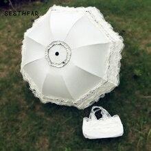 Casamento laço ultravioleta prova dobrável guarda chuva ao ar livre ensolarado dia guarda chuva princesa casamento tiro adereços