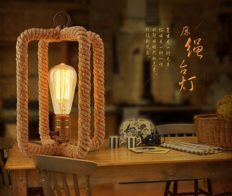 ФОТО A1 One meter sunshine simple bedside lamp retro creative personality bedroom Restaurant Bar Cafe rope lamp Table Lamps T11