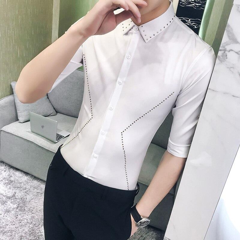 Hot Sale Men Casual Shirt Summer New Slim Fit Half Sleeve Social Shirts Dress Solid Camisas Para Hombre Simple Work Shirt Men