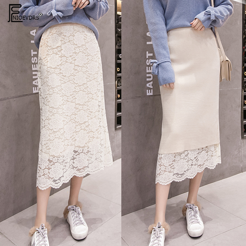 Two Way To Wear Autumn Skirts Women Fashion Cute Girls Hollow Out Lace Skirt Black White High Waist Knitted Skirts 1315