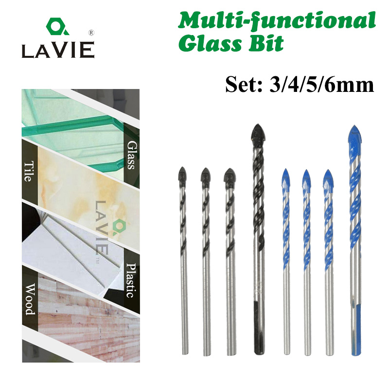 LAVIE 4pcs 3mm 4mm 5mm 6mm Multi-functional Glass Drill Bit Triangle Drill Bits For Ceramic Tile Concrete Glass Marble DB02059