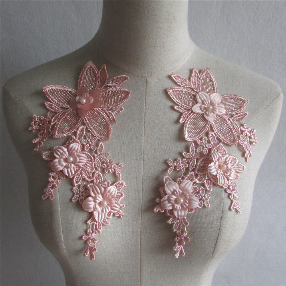 ᐊnew style pink floral ᗔ applique pearl decorated