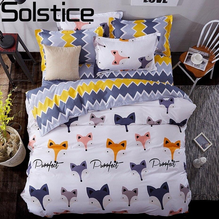 Solstice Textile de Maison Dessin Animé Renard 3/4 pcs Beddingset de Ensembles de Literie Enfants Linge de Lit Housse de Couette Drap de Lit taie d'oreiller/lit Ensemble