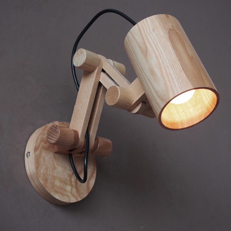 Modern oak wooden wall lamp bedroom reading lights - Bedroom reading lights wall mounted ...