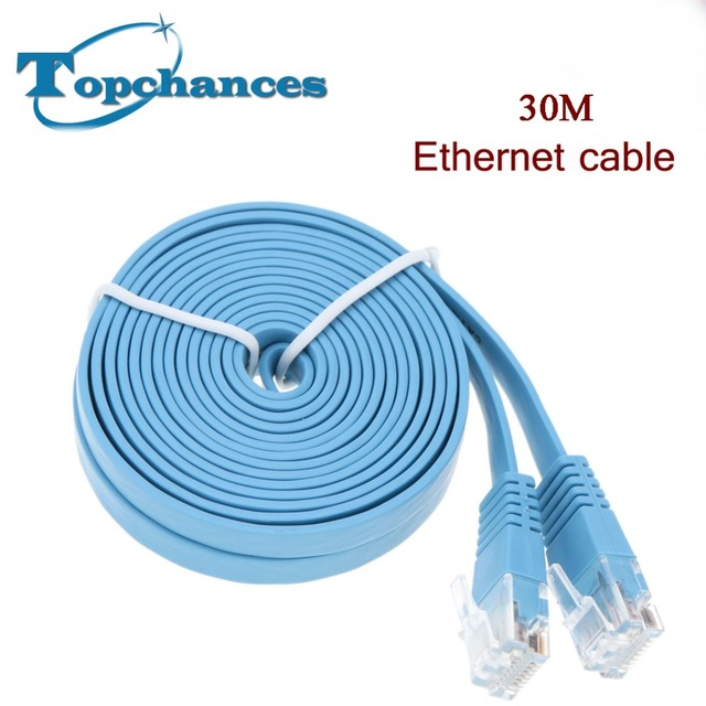 High Speed 30M Cat6 Ethernet Flat Cable RJ45 Computer LAN Internet ...