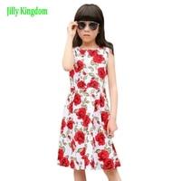 Jilly Kingdom Flower Baby Girl Dress Children Girl Sleeveless Cotton Roses Blue Summer kids Princess Party Dresses Size 2~11 New