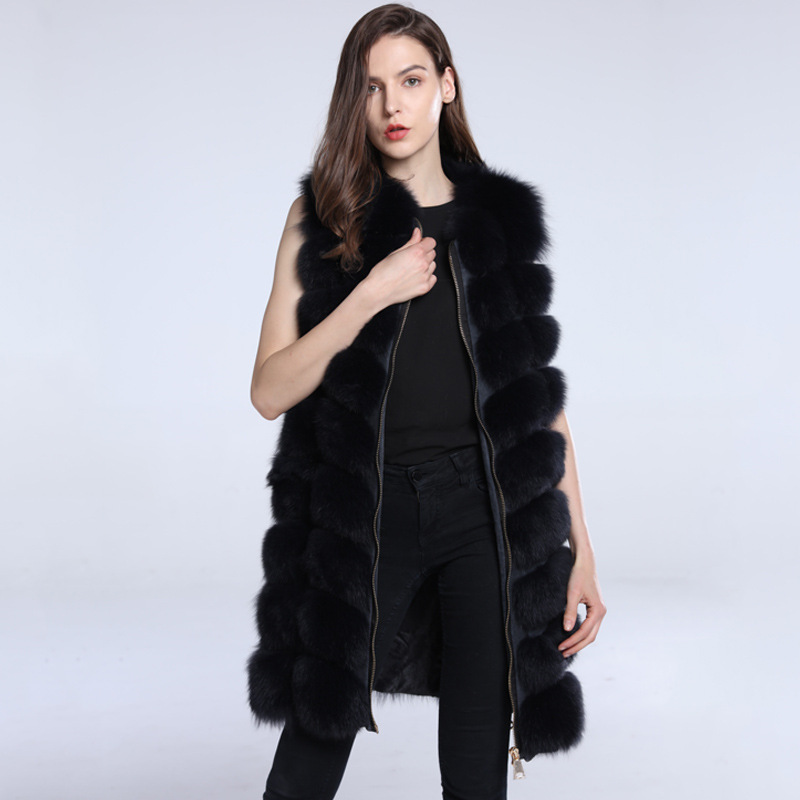 2 Nouveau Hiver Automne Renard Épais Naturel Longue Mode De Luxe  Survêtement Streetwear Veste 1 Réel Manteau ... 3b7758f2de10