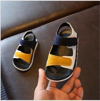Детские сандалии высокого качества, детская обувь для мальчиков и девочек, летние лоскутные пляжные спортивные мягкие кожаные сандалии, об...