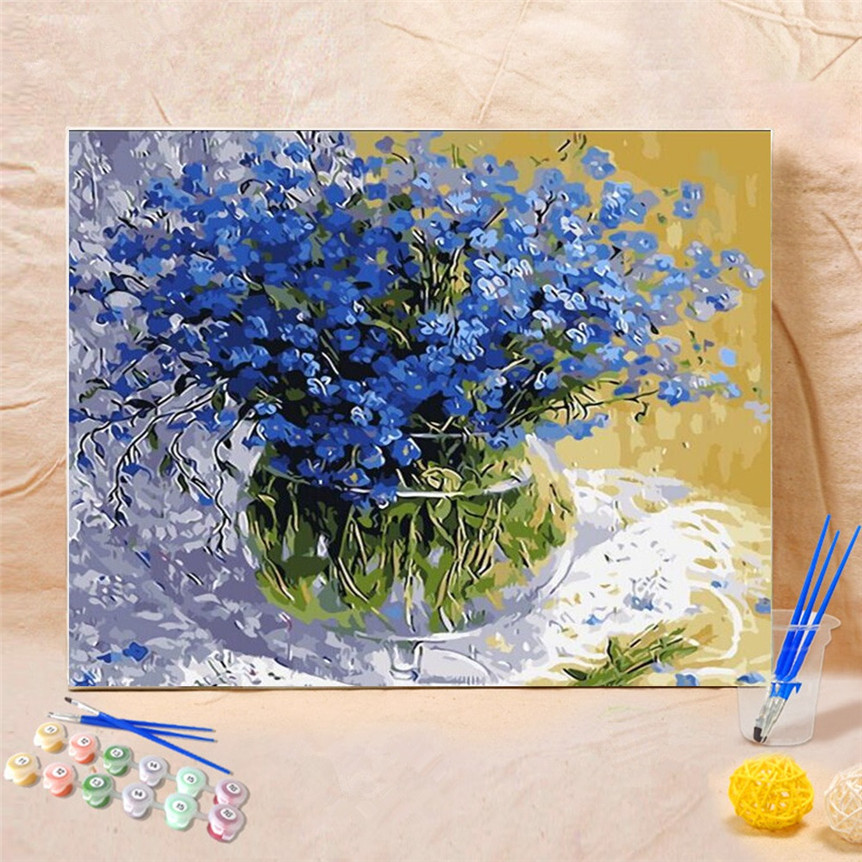 Frameless Canvas Art Oil Painting Flower Painting Design: Frameless DIY Flower Painting By Numbers Acrylic Paint By