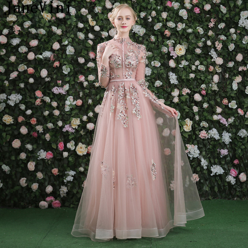 JaneVini Beautiful Tulle A Line   Bridesmaid     Dresses   Embroidery Appliques Pearls Button High Neck Wedding Party Formal Prom Gowns