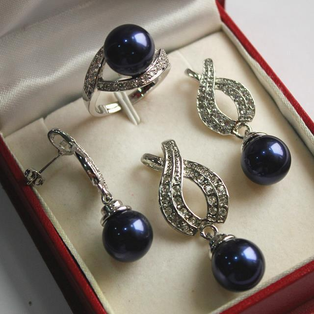 akk826 Ring Set 12mm Dark Blue Shell Pearl Pendant Earring Nice New Jewelry Silver Plated Carefully Selected Materials