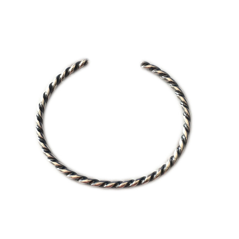 Authentic 925 Sterling Silver Twisted Silver Bangle Bangle Bracelet Fit European Jewelry Not Include charms