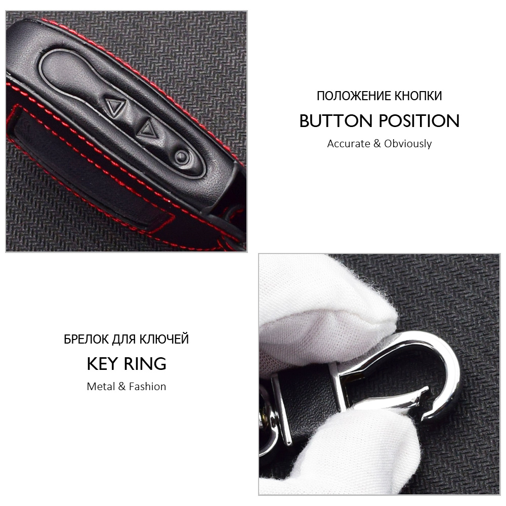Image 3 - Leather Car Key Case For StarLine B92 B62 B64 B95 Two Way Car Alarm LCD Remote Controller Protect Cover Keychain With Key Ring-in Key Case for Car from Automobiles & Motorcycles