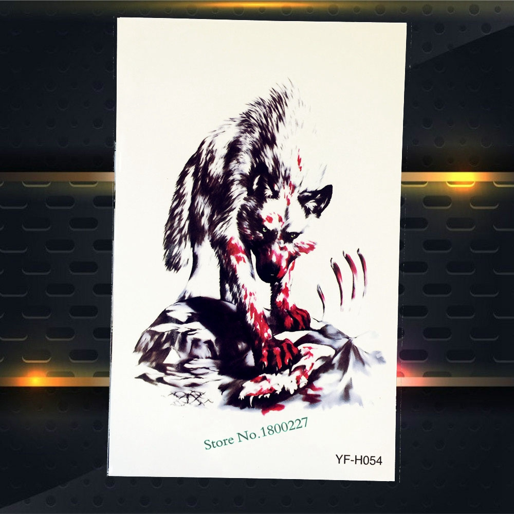 Large Fake Animal Tattoo Sleeve PYFH54 Blood Wolf Design Body Art Temporary Arm Tattoo Sticker For Men Women Chest Tattoo Wolf