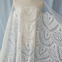 fish end luxury embroidery lace fabric Wedding Dress Tulle Skirt Material fabrics for patchwork