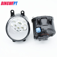 2pcs Set Car Styling Round Bumper High Brightness LED Fog Lamps White 12V For Toyota Prius