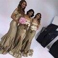2017 Cheap Long Mermaid Bridesmaid Dresses Ruffles Gold Sequins Party Satin Custom Made Ruched Bridesmaid Gowns