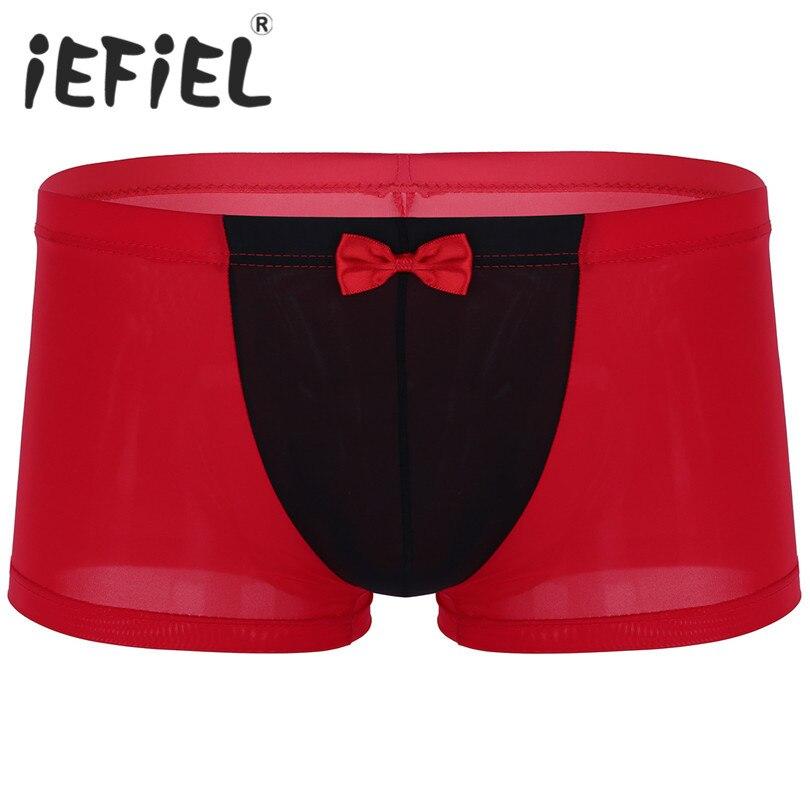 iEFiEL Fashion Mens Male Breathable Ice Silk Bowtie Gentleman Seamless Low Rise Boxer Underwear Sleepwear Shorts Trunks  Pants