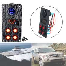 4 Gang LED Boat Marine Car On-Off Rocker Switch Panel Dual USB Charger Voltmeter Gauge 82x160x2mm