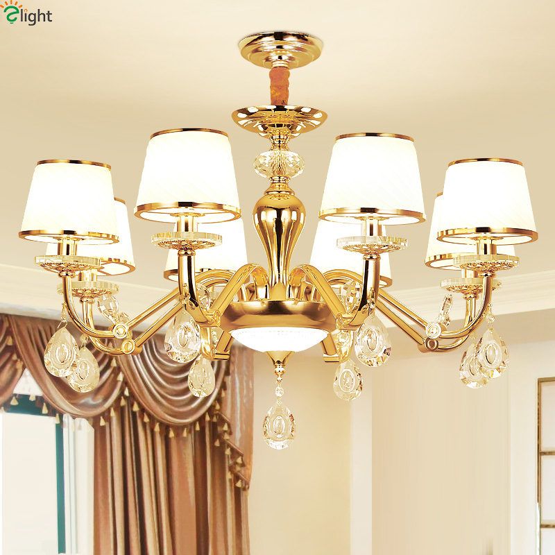 Modern Crystal Led Chandeliers Lighting Gold Metal Living Room Led Pendant Chandelier Lights Dining Room Hanging Light Fixtures