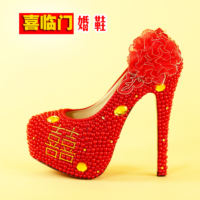 Wedding Shoes Chinese Red High Heels Handmade Crystal Pearl Brides Shoes Dress Party Bride