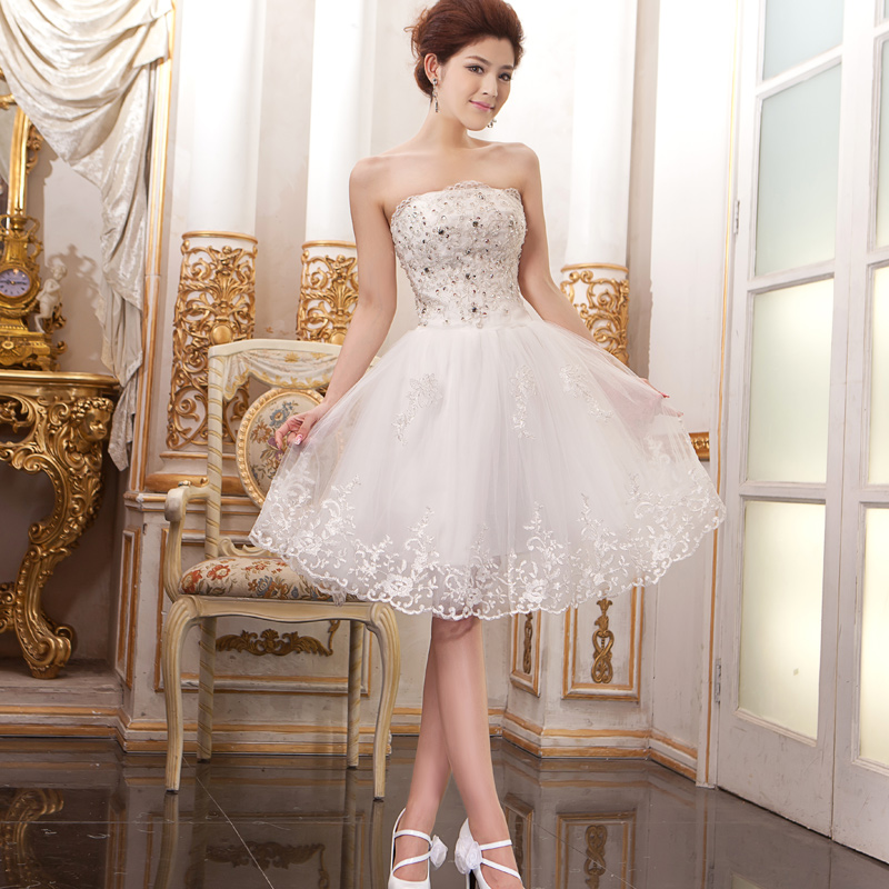 Wedding White Gown Dress: Mini Sexy Strapless Bridesmaid Dresses White Lace Ball