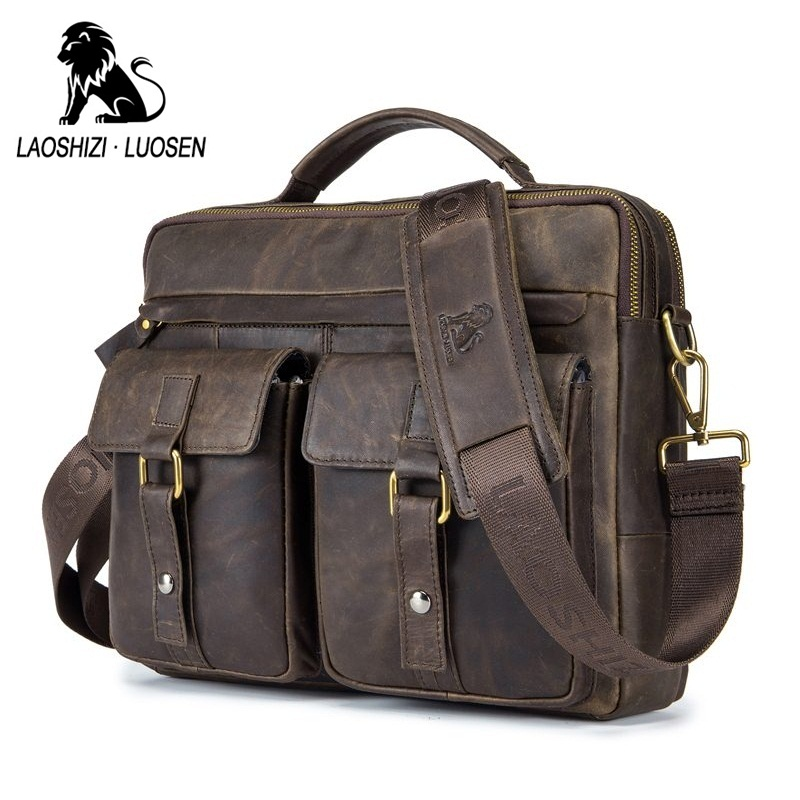 LAOSHIZI LUOSEN Genuine Leather Vintage Men