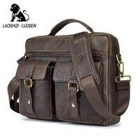 LAOSHIZI LUOSEN Genuine Leather Vintage Men Bag Handbag Business Casual Men S Travel Laptop Bag Shoulder