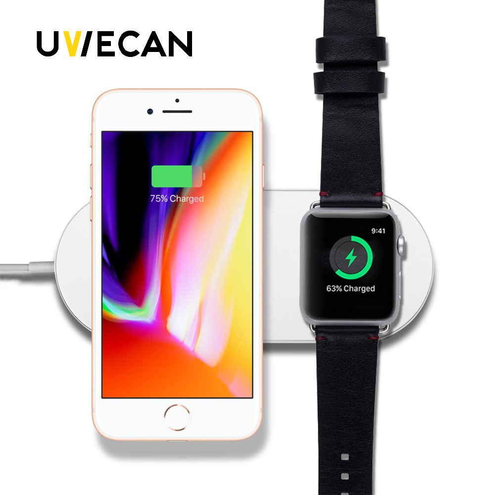 2 in 1 Mini AirPower Wireless Charger Fast Desk Wireless Charging Pad For Samsung Android Phone&iPhone X 8 8 Plus&Apple Watch зарядное устройство satechi wireless charging pad для iphone 8 8 plus x rose gold st wcpr
