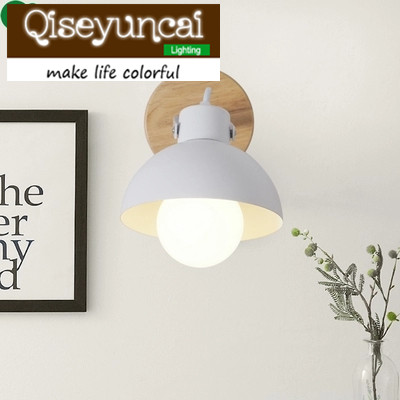 Qiseyuncai E27 modern bedroom living room bedside solid wood wall lamp Nordic style corridor iron art simple ceiling lamp modern wall lamp adjustable arm bedside reading lamp e27 wood iron wall lighting bedroom lights high quality wwl014