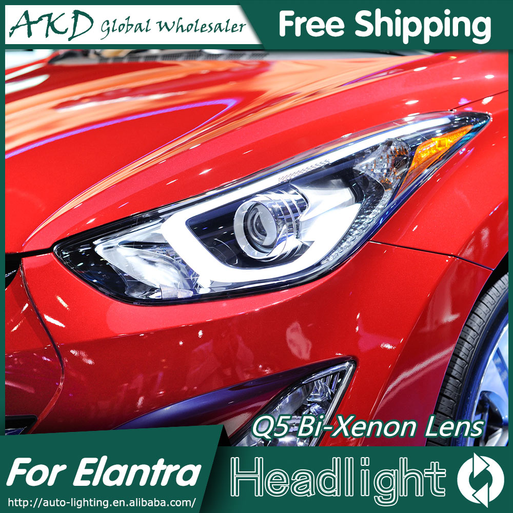 AKD Car Styling Head Lamp for Hyundai Elantra Headlights Elantra LED Headlight Korea Design DRL Bi Xenon Lens Parking Fog Lamp akd car styling for nissan teana led headlights 2008 2012 altima led headlight led drl bi xenon lens high low beam parking