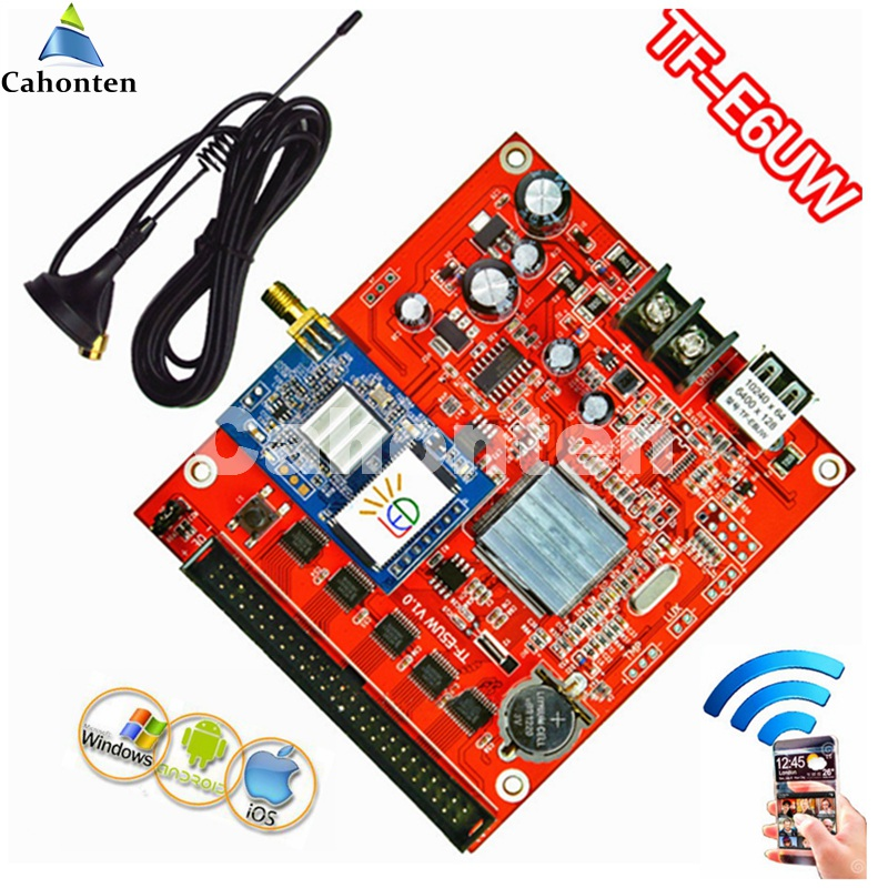 TF-E6UW WIFI+USB communication LED control card 6400*128dots single/dual/full color wireless screen display module controller bx 6q3 usb and ethernet port lintel full color led control card asynchronous video led sign controller 384 1024 512 768pixels