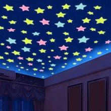 Autocollant mural en plastique Fluorescent avec étoiles 3D qui brillent dans la nuit, décor de maison, papier peint décoratif pour festivals spéciaux