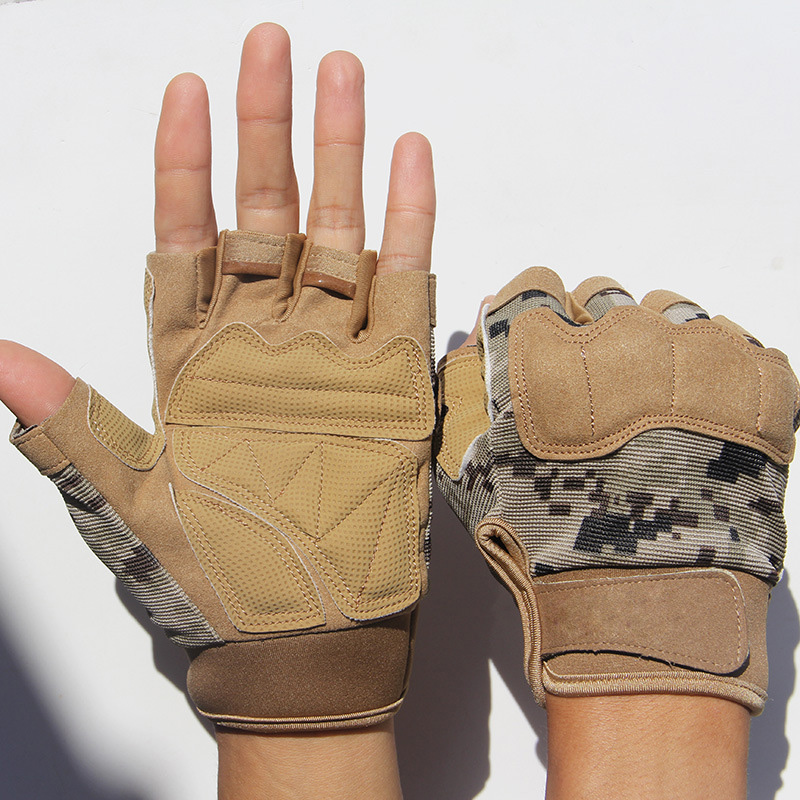 Army Military Tactical Half Finger Bicycle Camouflage Gloves Men Women Sports Climbing Fitness Driving Gloves Special Forces A15