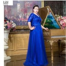 LZJ nueva mujer vestido de gran tamaño vestido de festa plus tamaño XXL-10XL elegante bordado de la manera Profunda V cuello del partido del banquete vestido