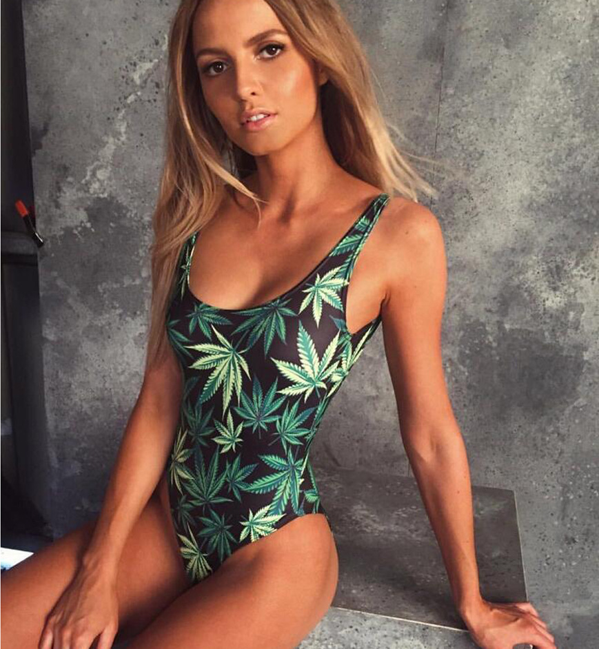 Candid 2019 Swimwear Women One Pieces Swimsuit Leaf Print Bodysuit Swimming Bathing Suit Bodysuit Monokini Beach Bather Maillot De Bain Good For Antipyretic And Throat Soother Women's Clothing