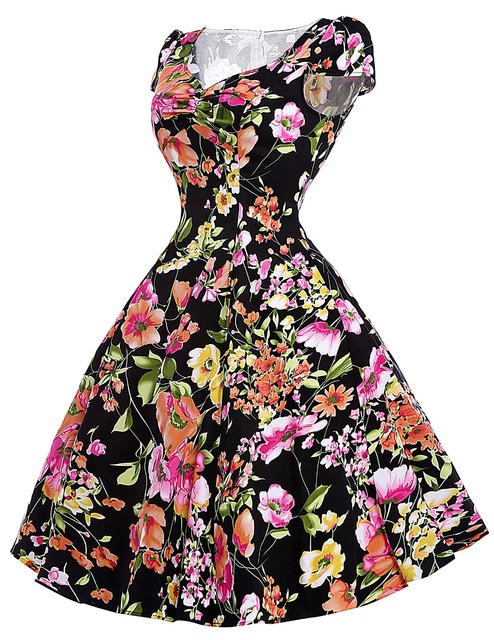 Floral Print Dress 2016 Ladies Summer Style 50s Vintage Sundress Women Ball Gown Robe Femme Sexy Casual Party dresses Vestidos