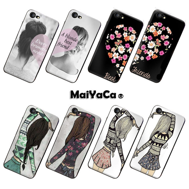 outlet store cfe2b 526a1 US $1.25 37% OFF|MaiYaCa BFF Best friends girly couple cell phone case For  iPhone 7 silicon case-in Half-wrapped Case from Cellphones & ...